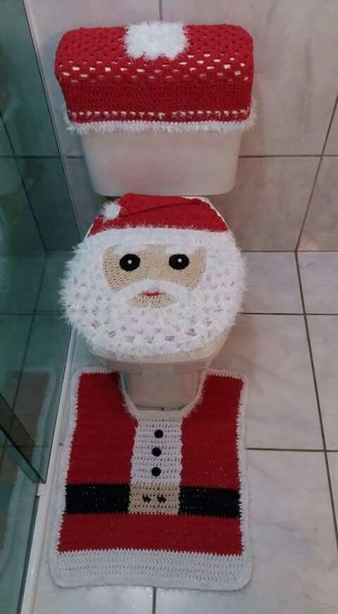 Artesanato enfeites natal croche banheiro