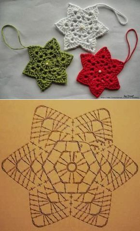 Artesanato enfeites natal croche estrela