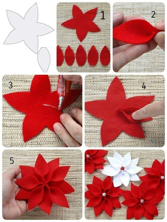 Artesanato enfeites natal feltro flores
