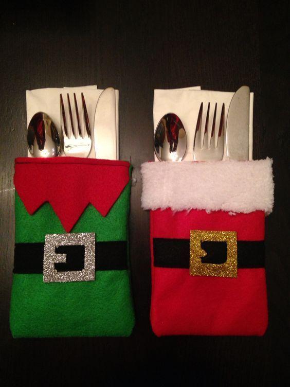 Artesanato enfeites natal feltro porta talheres