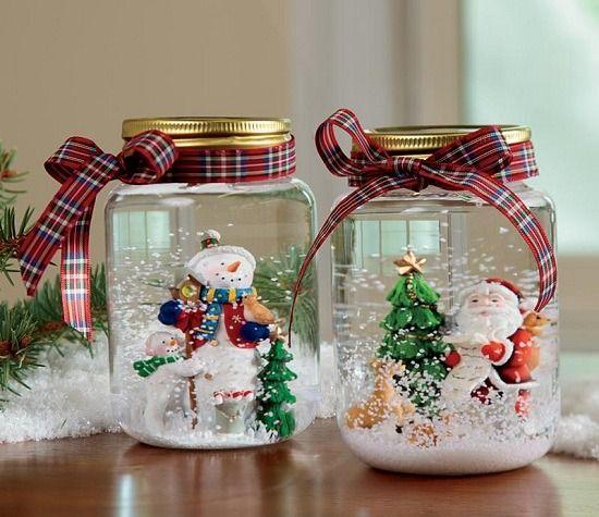 Artesanato enfeites natal frascos diy