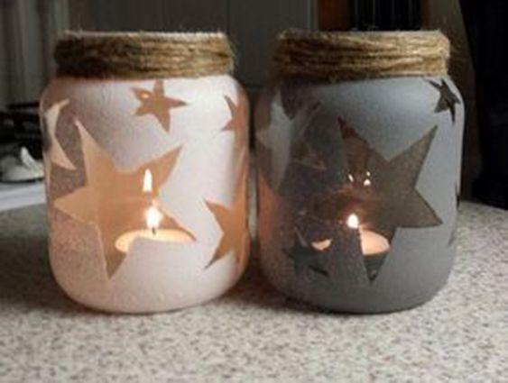 Artesanato enfeites natal frascos estrela
