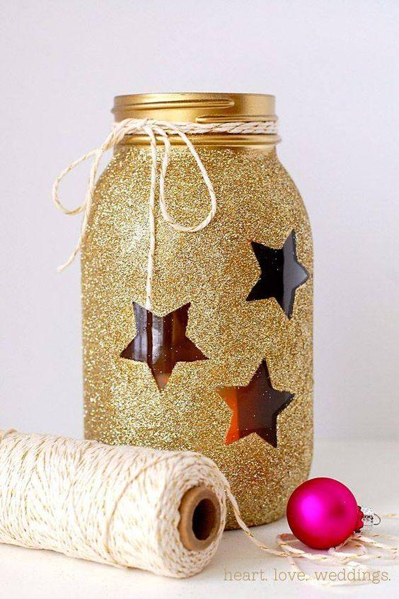 Artesanato enfeites natal frascos glitter