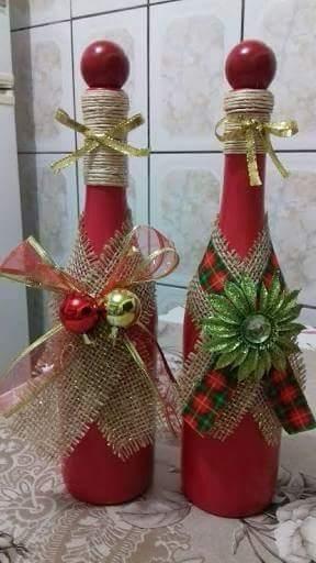Artesanato enfeites natal garrafas centro mesa
