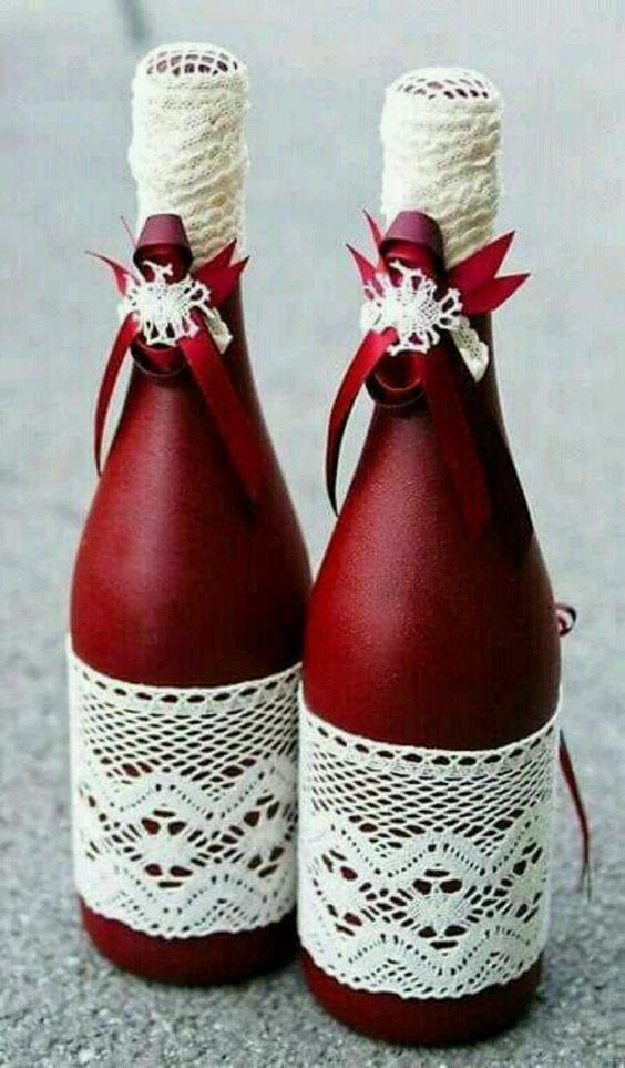 Artesanato enfeites natal garrafas centro renda