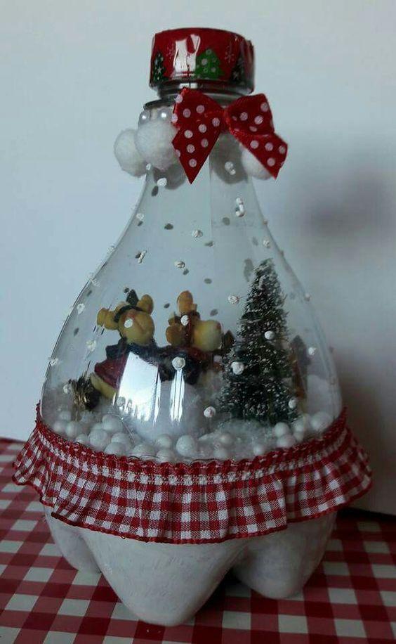 Artesanato enfeites natal garrafas diy