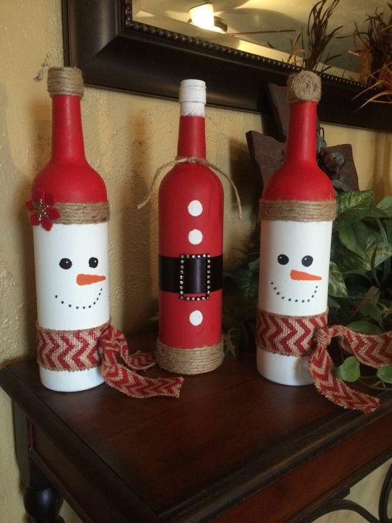 Artesanato enfeites natal garrafas juta