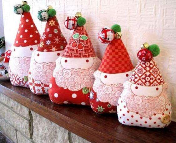 Artesanato enfeites natal tecido papai noel