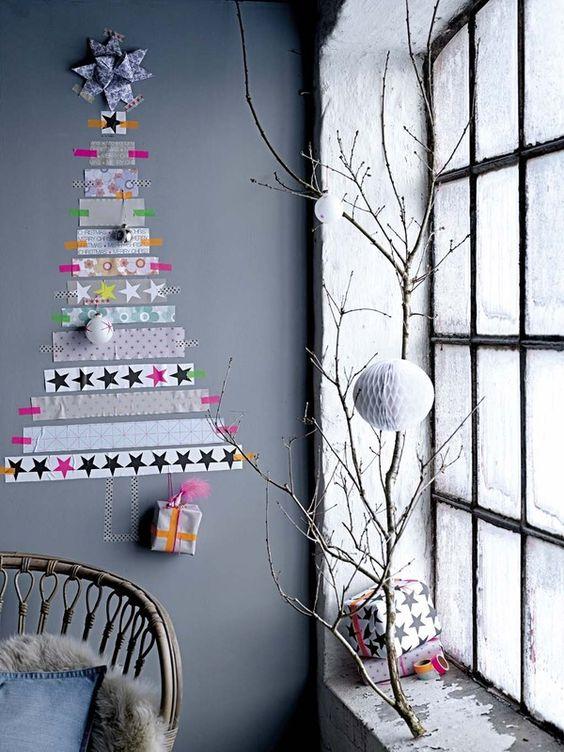 arvore natal criativa Washi Tapes facil