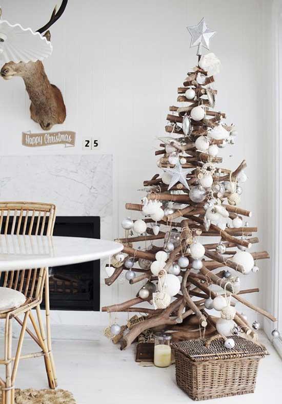 arvore natal criativa madeira galhos