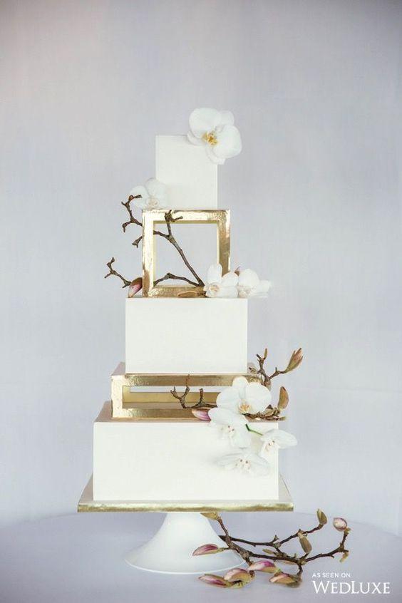 bolo casamento branco quadrado andares