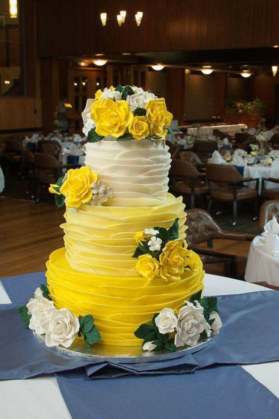 bolo casamento flores amarelo