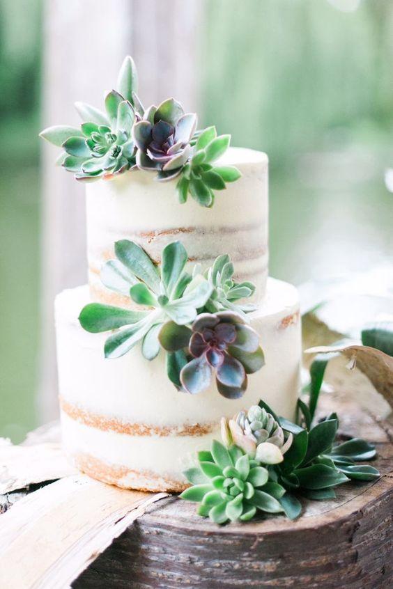bolo casamento flores suculentas