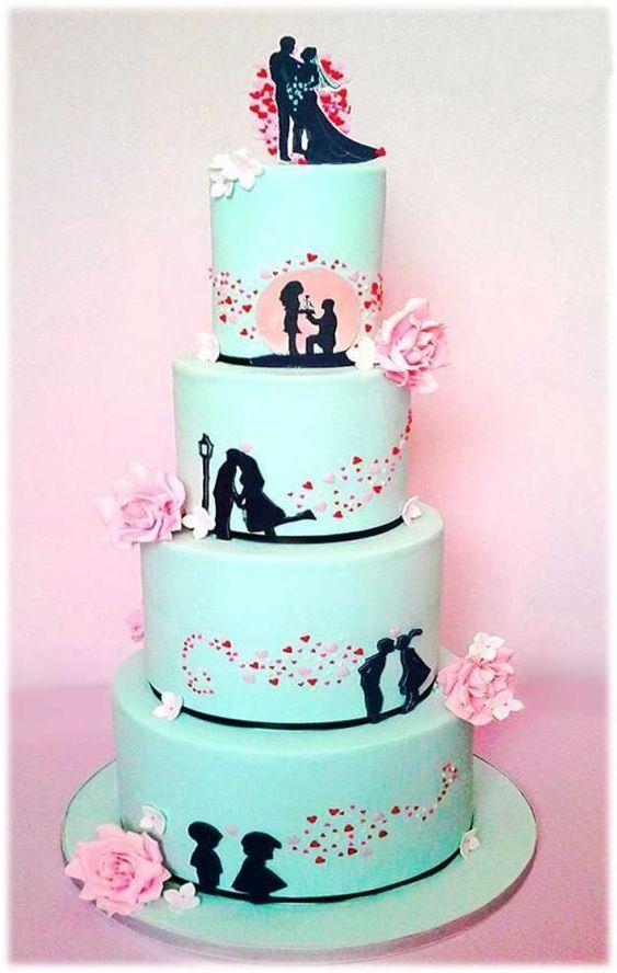 bolo casamento modernos azul