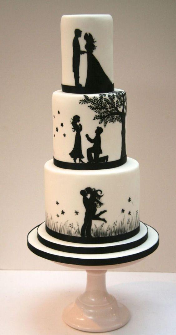 bolo casamento modernos preto branco
