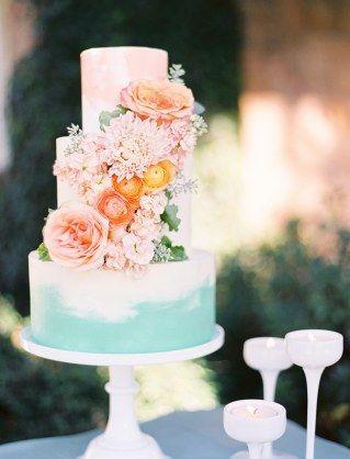 bolo casamento romanticos flores