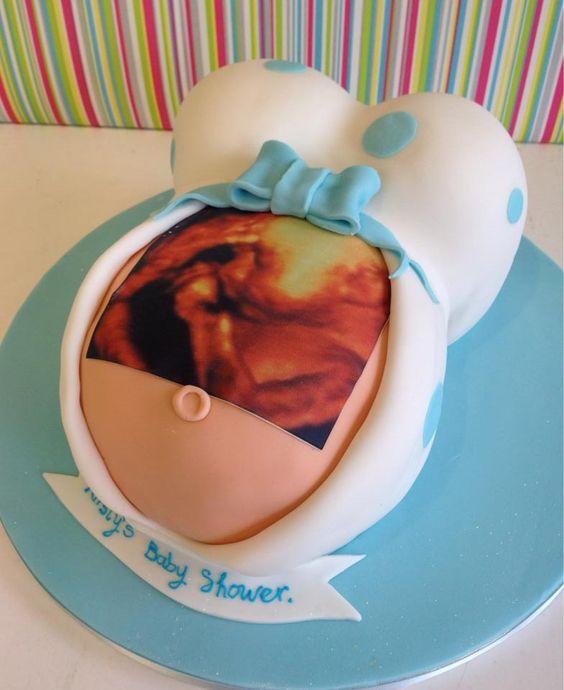 bolo decorado cha bebe menino ecografia