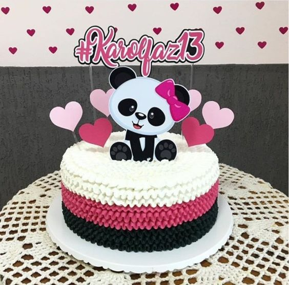 bolo decorado festa panda chantinho