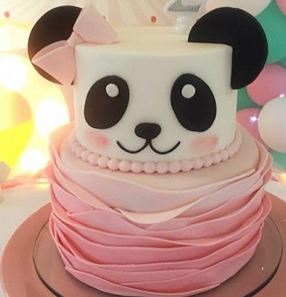 bolo decorado festa panda rosa andares
