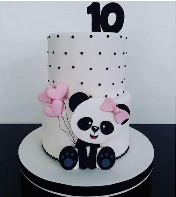 bolo decorado festa panda rosa preto