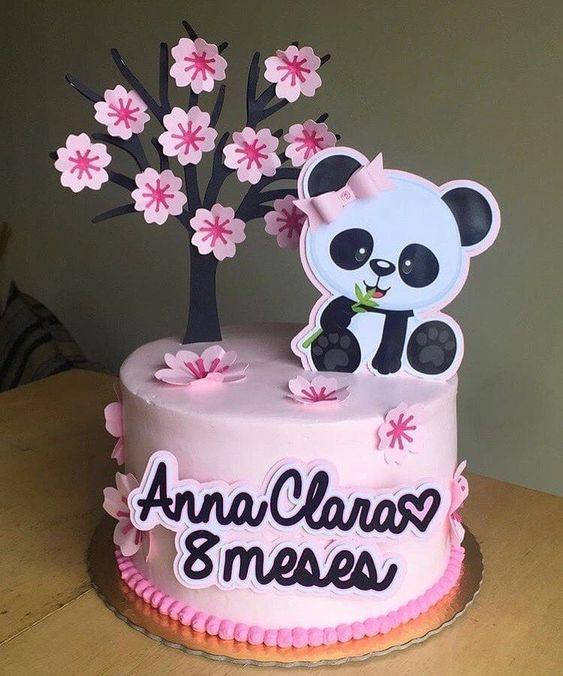 bolo decorado festa panda rosa