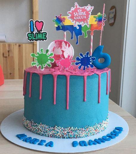 bolo decorado slime