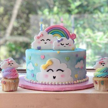 bolo festa chuva amor azul