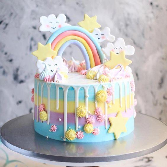 bolo festa chuva amor colorido