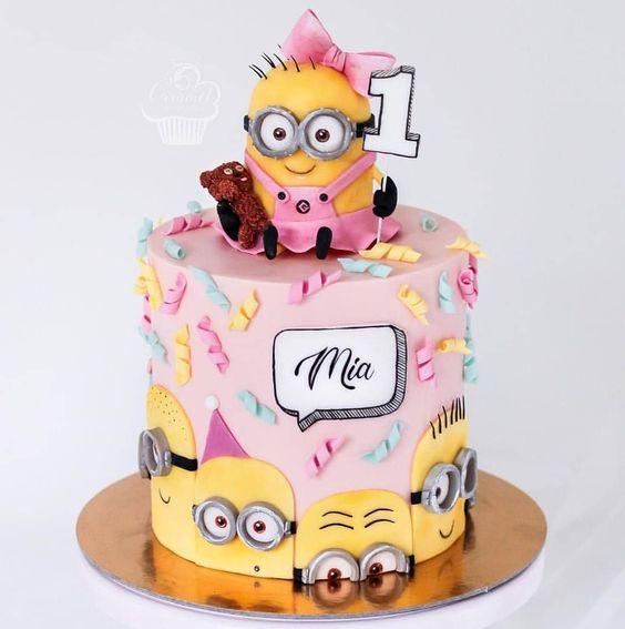 bolo festa minions menina