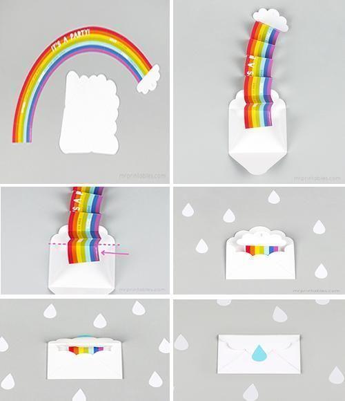 convite festa infantil colorido arco iris