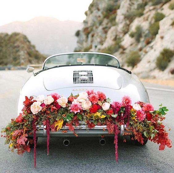 decoracao carro noivos flor