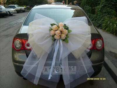 decoracao carro noivos laco