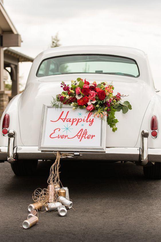 decoracao carro noivos latas