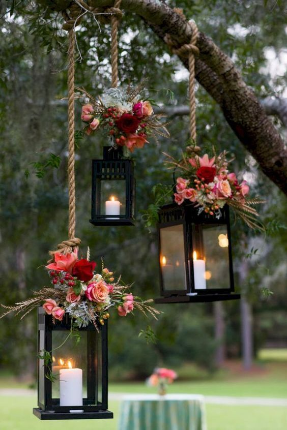 decoracao casamento simples flores lanterna