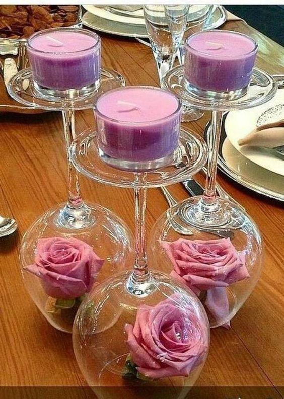 decoracao casamento simples velas arranjo