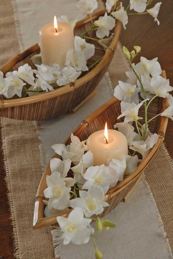 decoracao casamento simples velas bambu