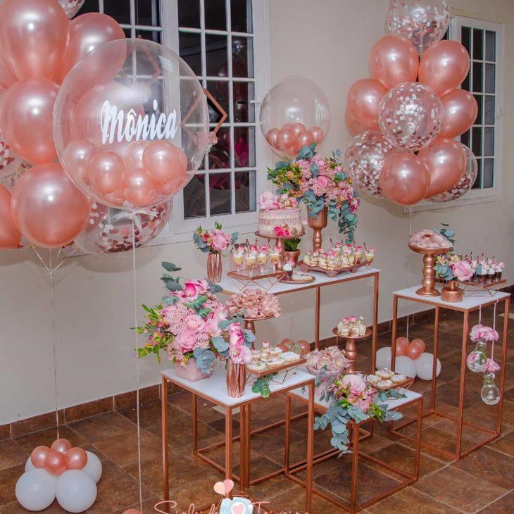 decoracao festa 15 anos rosa gold
