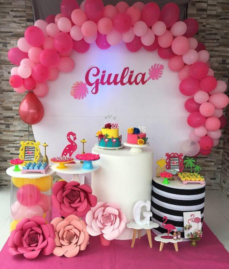 decoracao festa 15 anos simples flamingo