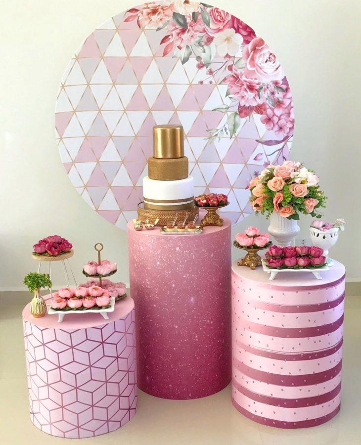 decoracao festa 15 anos simples rosa