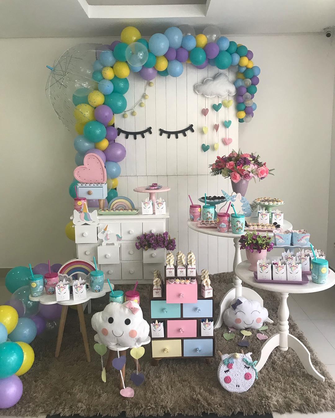decoracao festa chuva amor unicornio