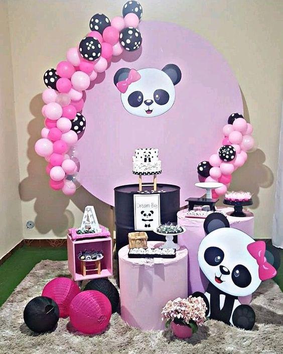 decoracao festa panda rosa barril