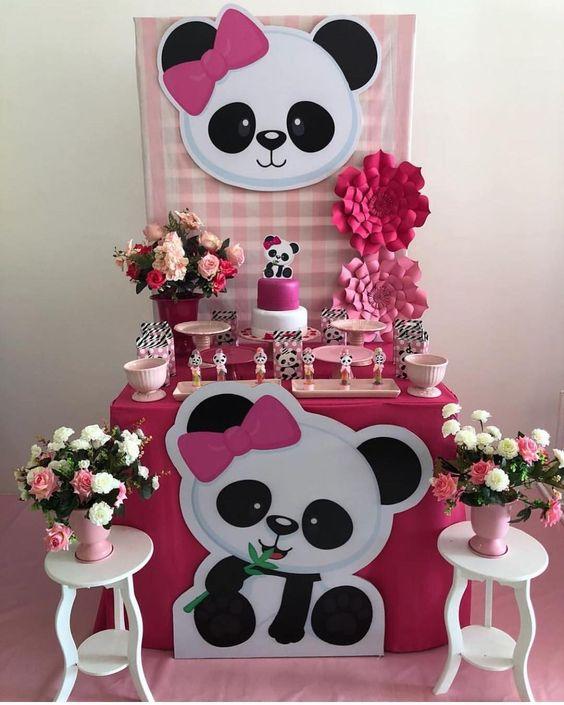 decoracao festa panda rosa ideias