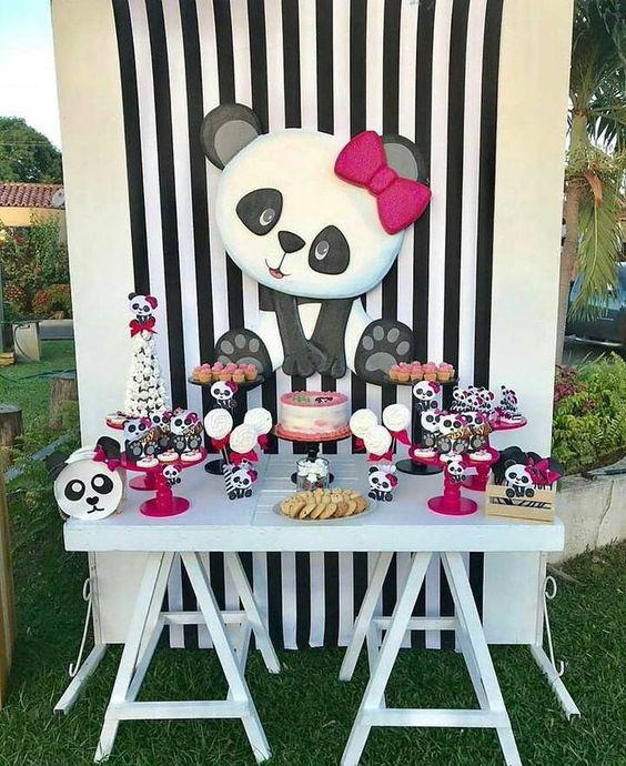 decoracao festa panda rosa listras