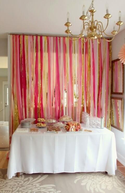 decoracao festa papel crepom cortina rosa