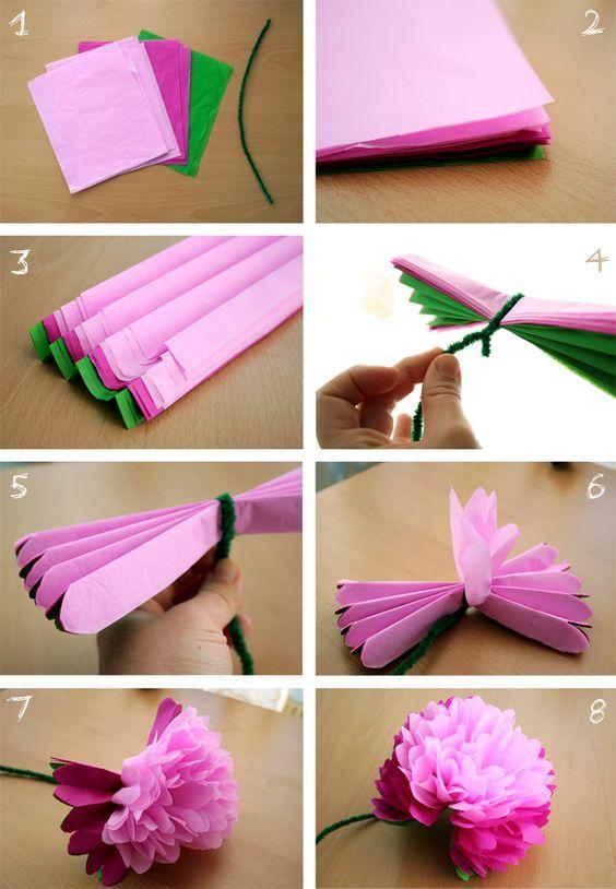 decoracao festa papel crepom flores diy