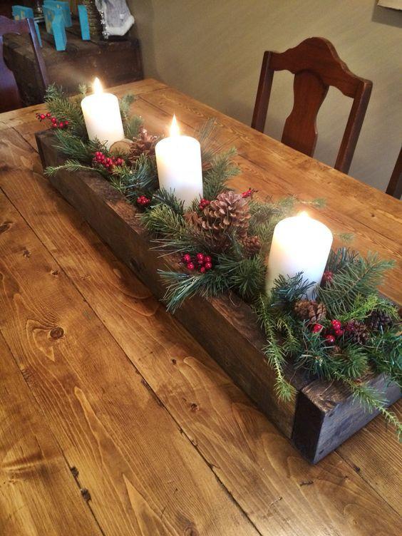decoracao mesa natal centro mesa madeira