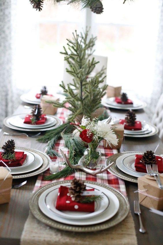 decoracao mesa natal centro mesa simples