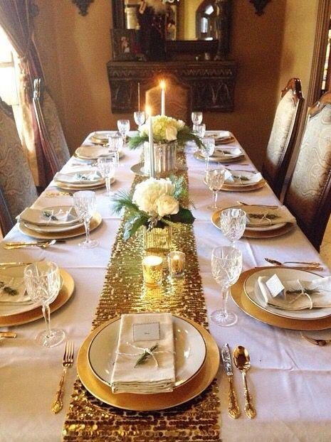 decoracao mesa natal dourado branco