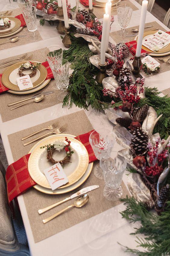 decoracao mesa natal dourado