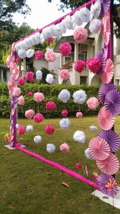 decoracao papel crepom festa cortina 4